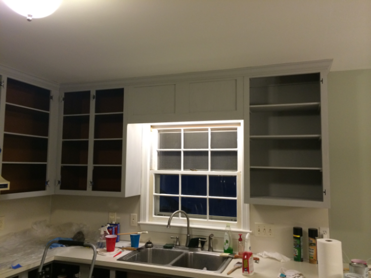 half painted cabinets